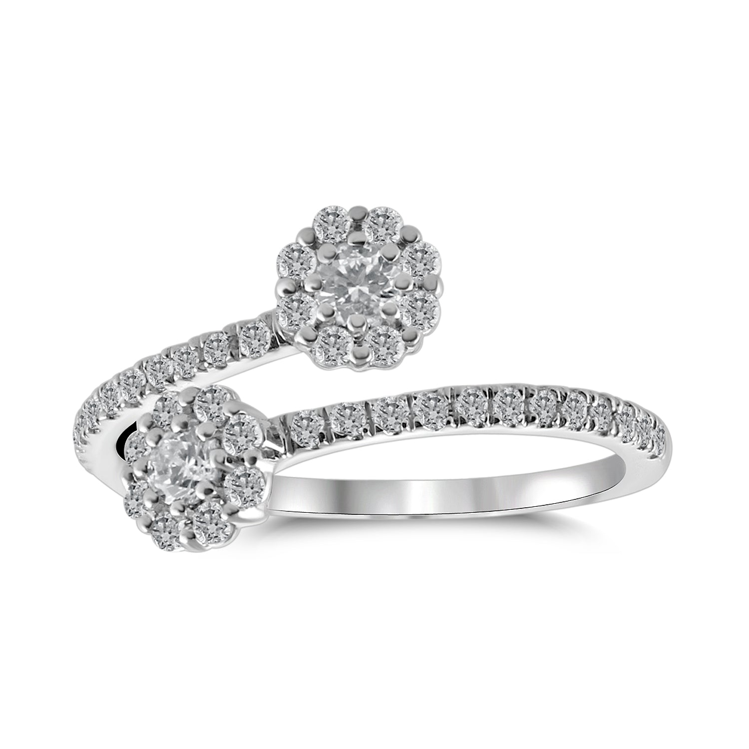 'Linnaea' - Diamond Flower-Halo Bypass Ring