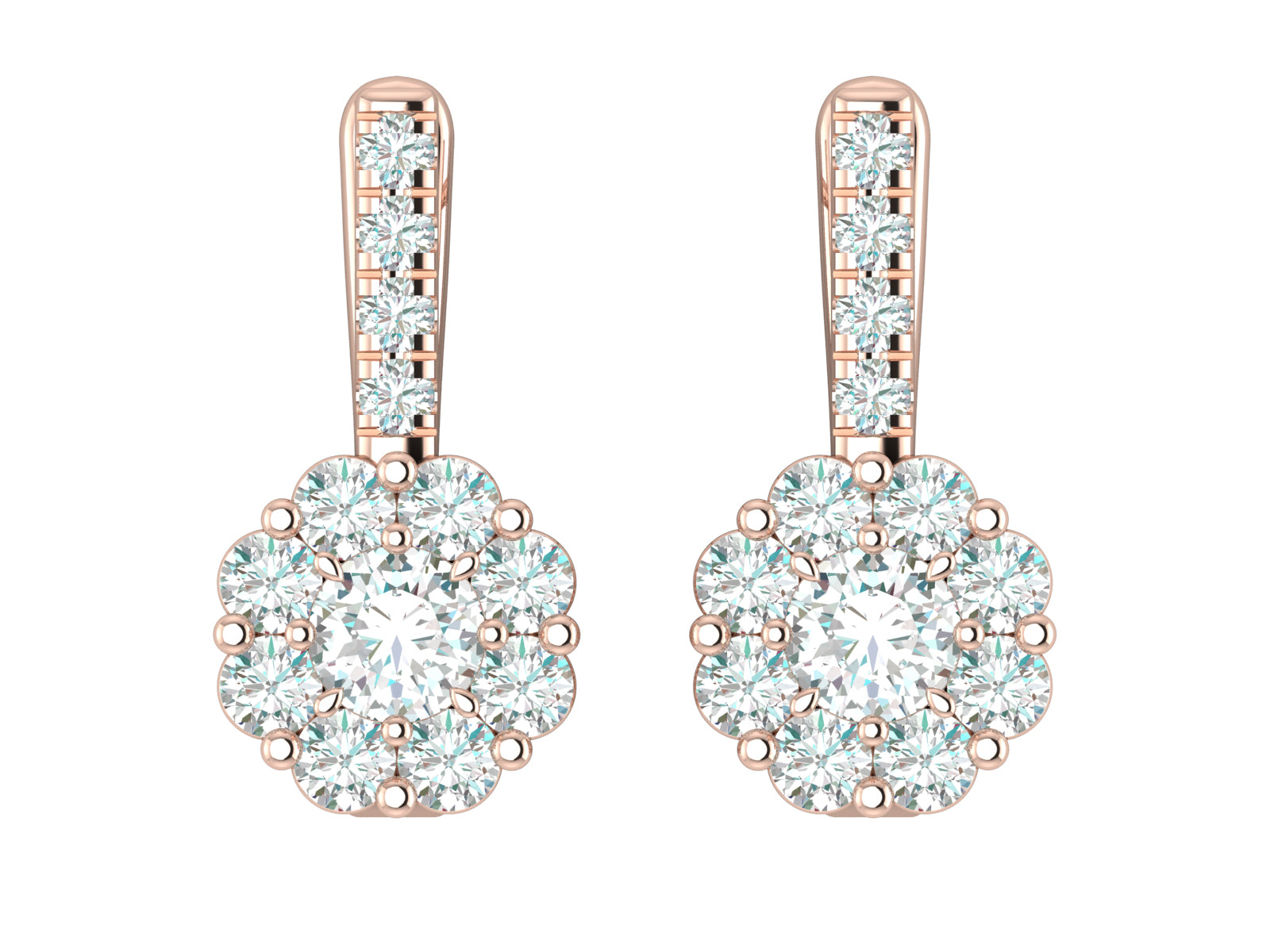 Flora - Cluster Round Brilliant Diamond Earrings