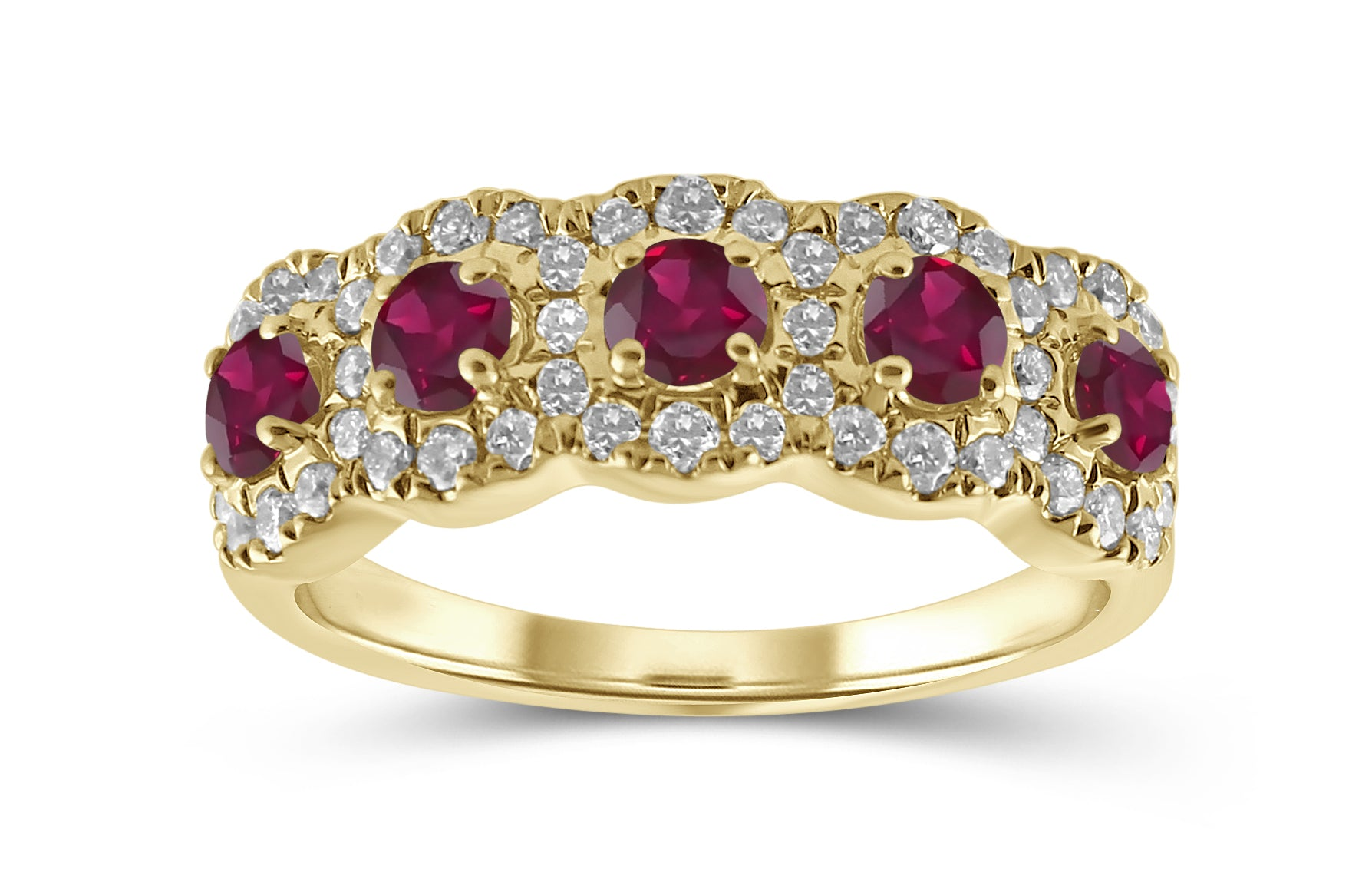 'Perlas' - 5 Halo Diamond & Gemstone Band