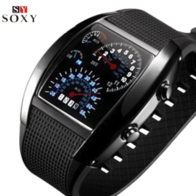 Men's Unique Dash Style LED Watch
