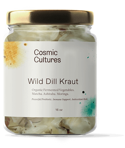 The new standard for an organic dill kraut. We combine cabbage, dill weed and caraway seeds, then infuse it with our highly active probiotic cultures from Elemental Wizdom®. Deep ocean minerals along with super plants moringa, ashitaba and matcha are added, and the mixture is allowed to ferment at room temperature in glass for 1 month, yielding an incredibly nutrient-dense and chlorophyll-rich take on a classic!
