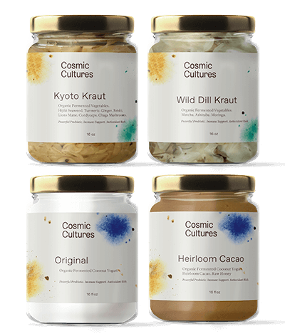 The Ultimate Gut Nourishing Combo Pack! One of each of our ferments at 10% off!  Flight Includes:  (1) Kyoto Kraut (1) Wild Dill Kraut (1) 16oz Original Coconut Yogurt (1) 16oz Heirloom Cacao Coconut Yogurt