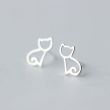 Load image into Gallery viewer, Silver Cat Silhouette Earrings - MyTopCat