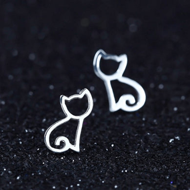 Silver Cat Silhouette Earrings - MyTopCat