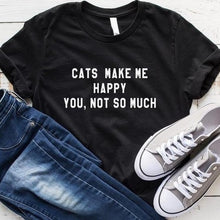 Load image into Gallery viewer, Cats Make Me Happy T-shirt - MyTopCat