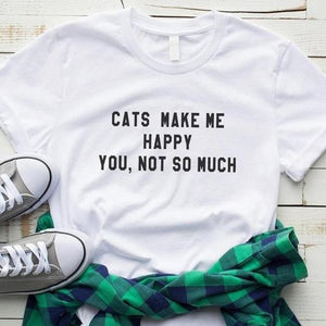 Cats Make Me Happy T-shirt - MyTopCat