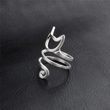 Load image into Gallery viewer, Silver Spiral Cat Ring - MyTopCat