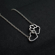 Load image into Gallery viewer, Paw Print and Hear Necklace - MyTopCat