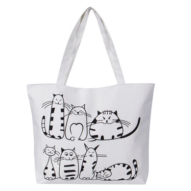 Cartoon Cat Canvas Bag - MyTopCat