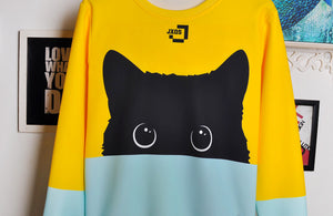 Two-Tone Black Cat Sweatshirt - MyTopCat