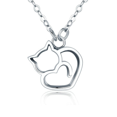 925 Sterling Silver Cat Heart Necklace - MyTopCat