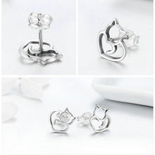 Load image into Gallery viewer, 925 Sterling Silver Cat Heart Earrings - MyTopCat