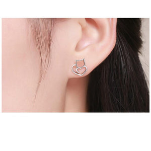 925 Sterling Silver Cat Heart Earrings - MyTopCat