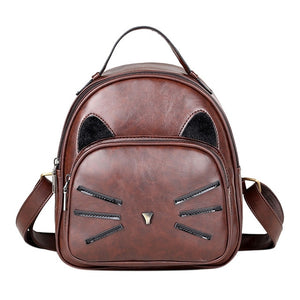 Cat Whiskers Leather Backpack - MyTopCat
