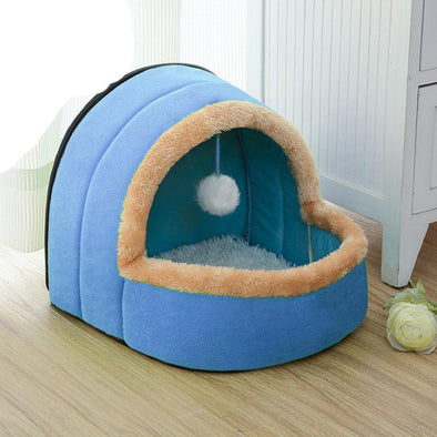 Foldable Pet House With Toy Ball
