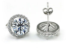 Load image into Gallery viewer, 925 Sterling Silver stimulated diamond studs