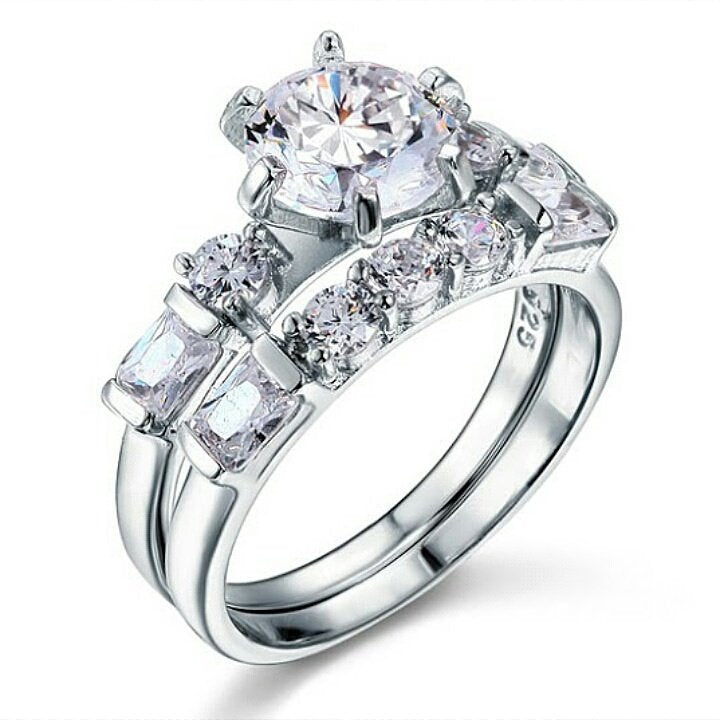 925 sterling silver stimulated diamond 2 piece ring set