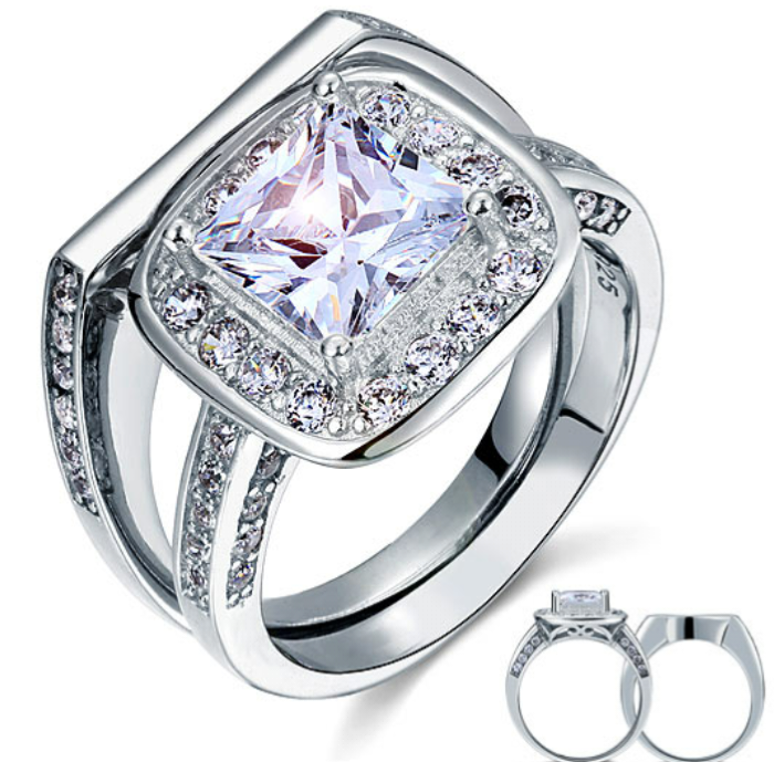 925 sterling silver stimulated diamond set