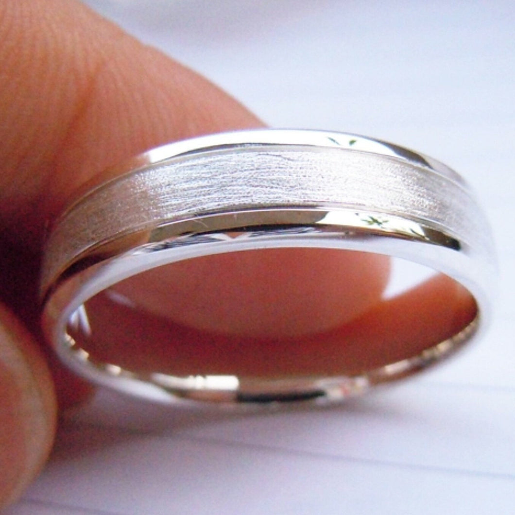 KLEIN Mens Handcrafted Sterling Silver wedding band