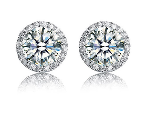 925 Sterling Silver stimulated diamond studs