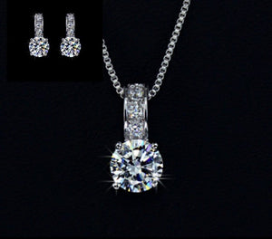 18k white gold cz diamond 2 piece set