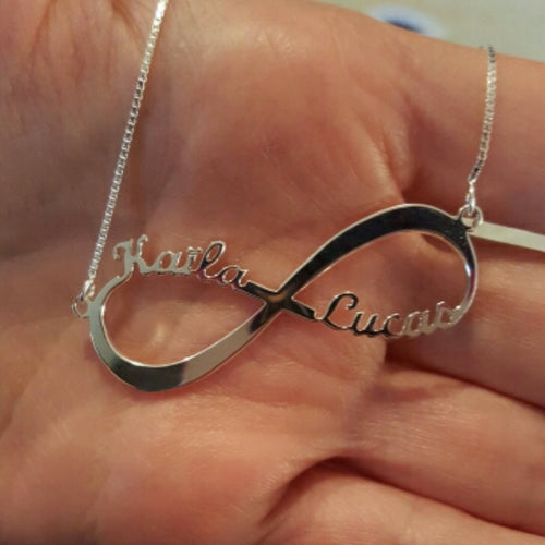 Personalised Sterling silver Infinity name necklace