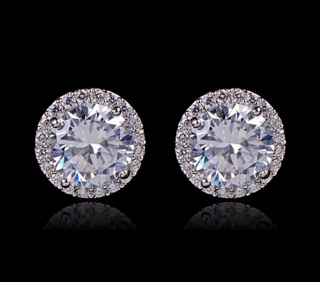 925 Sterling Silver 1ct Simulated Diamond Studs
