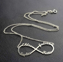 Load image into Gallery viewer, Personalised Infinity 3 Or 4 name sterling silver necklace