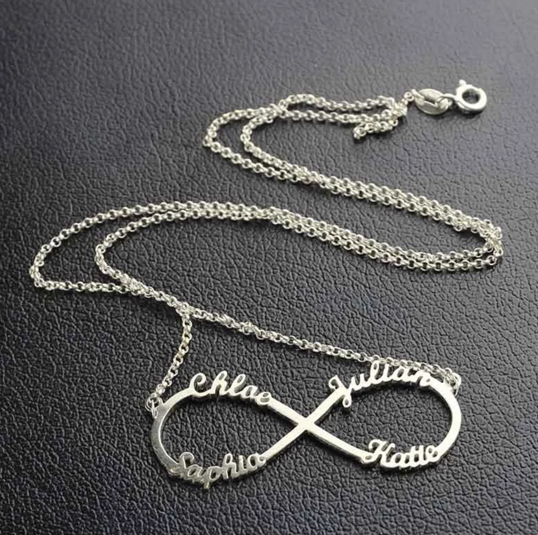 Personalised Infinity 3 Or 4 name sterling silver necklace