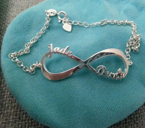 Personalised Sterling silver infinity name bracelet