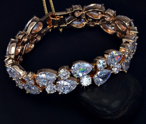18k gold filled cz diamond bracelet