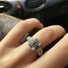 Load image into Gallery viewer, 18k white gold filled cz diamond ring