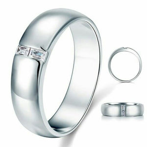 Mens 925 sterling silver stimulated diamond ring