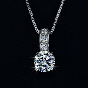 18k white gold cz diamond necklace