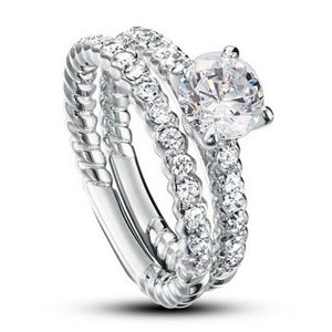 925 sterling silver stimulated diamond 2 piece rin
