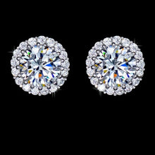 Load image into Gallery viewer, 18k white cz diamond studs
