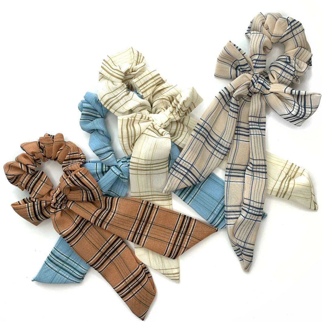 DRESDEN PLAID BOW SCRUNCH