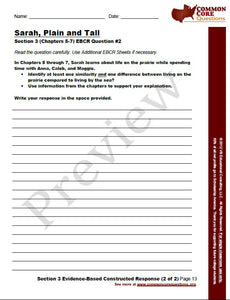 Sarah, Plain and Tall CCQ Workbook (Reading Level R - 560L)