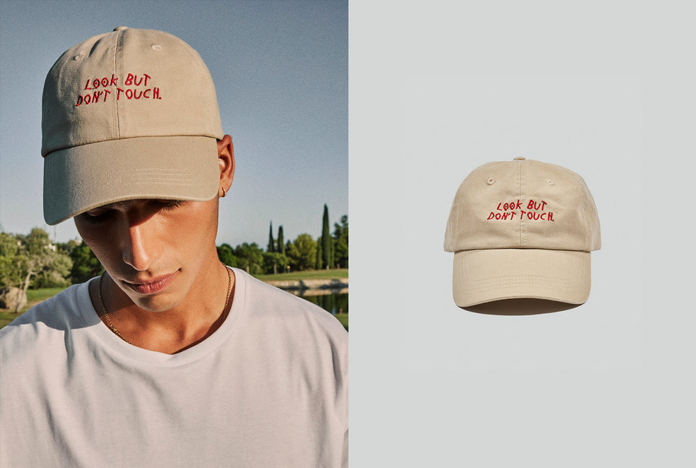 Look but don't touch baseball cap for Spain holiday in beige colour for men and women for designer quality outfit finish