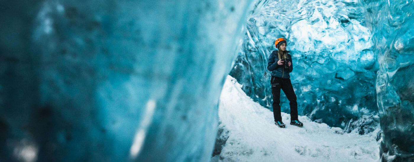 Girl in ice cave in Iceland