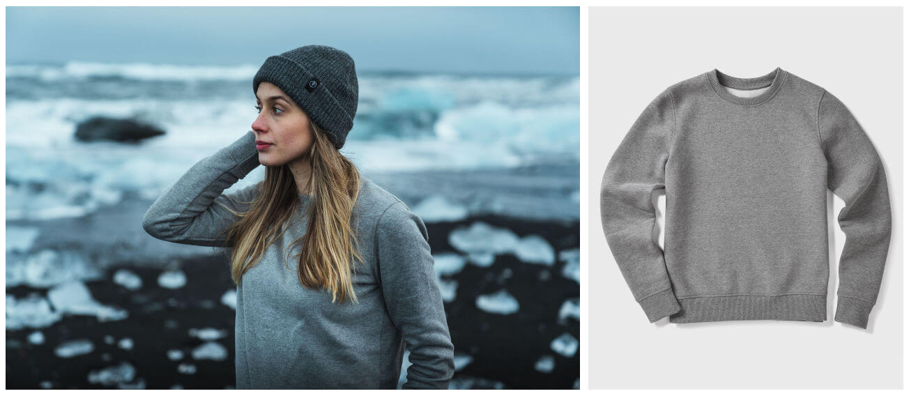Girl on Iceland coast in grey jumper