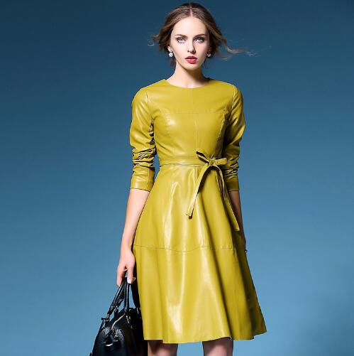 On trend PU leather look swing dress in yellow or black