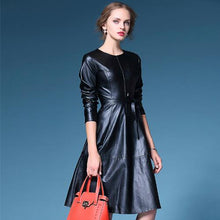 Load image into Gallery viewer, On trend PU leather look swing dress in yellow or black Free worldwide shipping