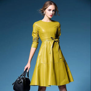 On trend PU leather look swing dress in yellow or black Free worldwide shipping