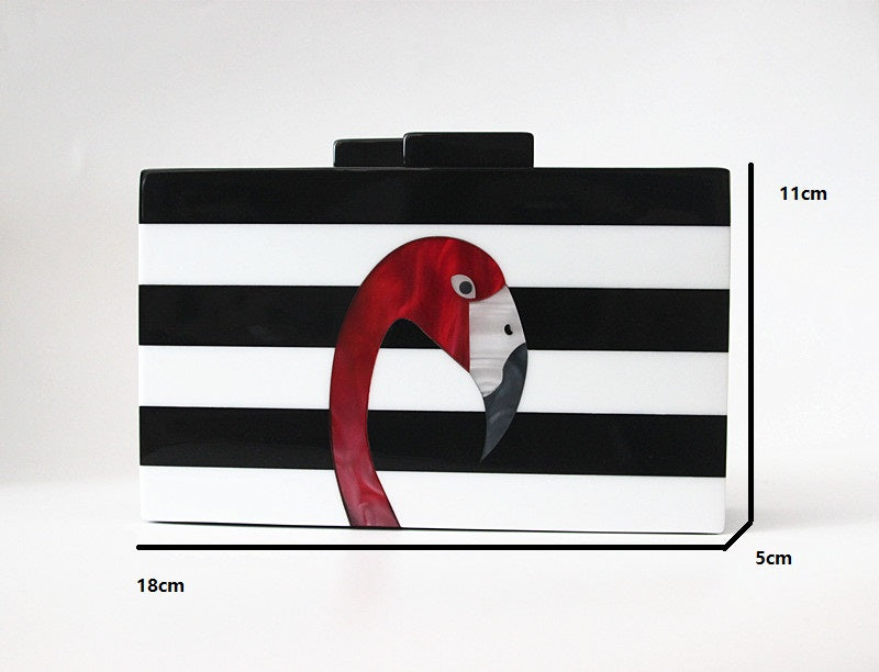 *Super chic black and white striped acrylic Flamingo clutch