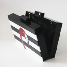 Load image into Gallery viewer, *Super chic black and white striped acrylic Flamingo clutch