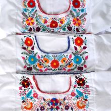 Load image into Gallery viewer, White Mexican Dress with Multicolored Flowers