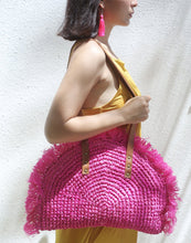 Load image into Gallery viewer, Warrior Bag, Hot Pink Woven Raffia Straw Bag