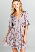 Load image into Gallery viewer, V-NECK SHORT SLEEVE PRINT MIDI DRESS