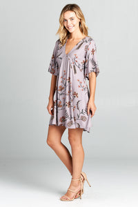 V-NECK SHORT SLEEVE PRINT MIDI DRESS